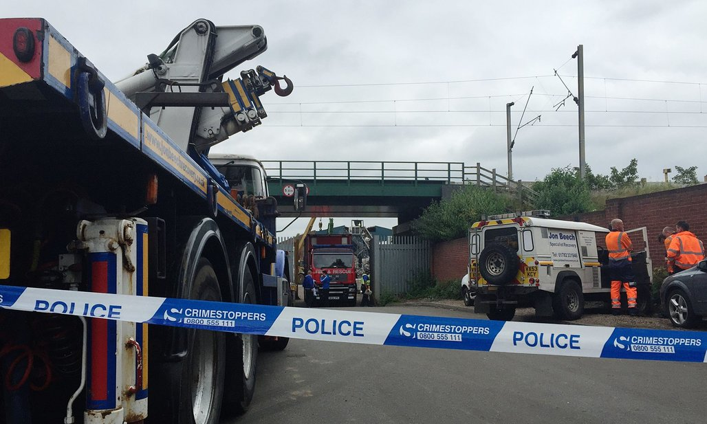 Emergency services at the scene where five men died after a wall collapsed at Hawkeswood Metal Recycling in Birmingham. Photograph: Richard Vernalls/PA