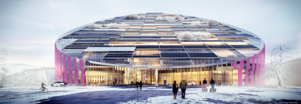 "Illustration of ""E = mc²"" by Wingårdhs, the winning proposal for Statoils new Forus West building."