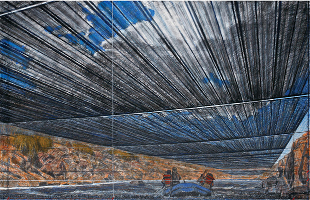 "A drawing of the proposed ""Over the River"" project. Image: Andre Grossmans photo of Christos 2012 drawing"