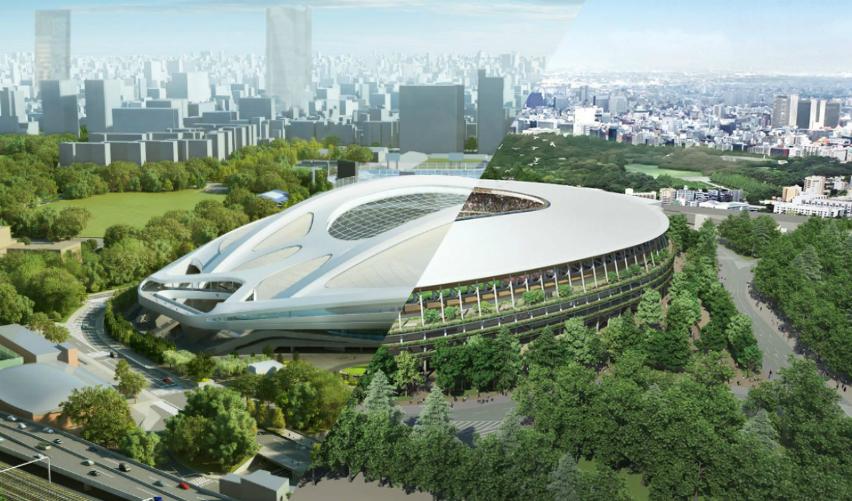 Zaha Hadids original design for the Tokyo Stadium vs Kengo Kumas design.