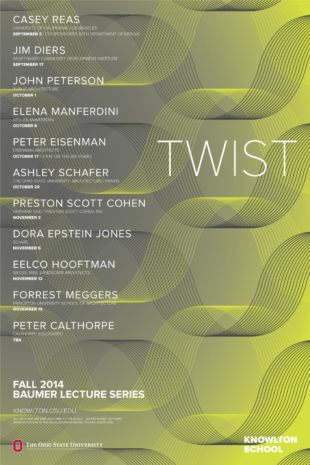 Fall 14 Baumer Lecture Series at Knowlton School of Architecture, Ohio State University. Image via knowlton.osu.edu