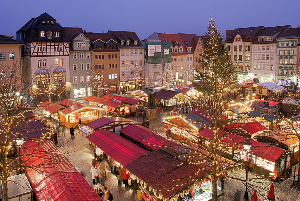 Christmas market in Jena, Germany. Image via wikipedia.org.