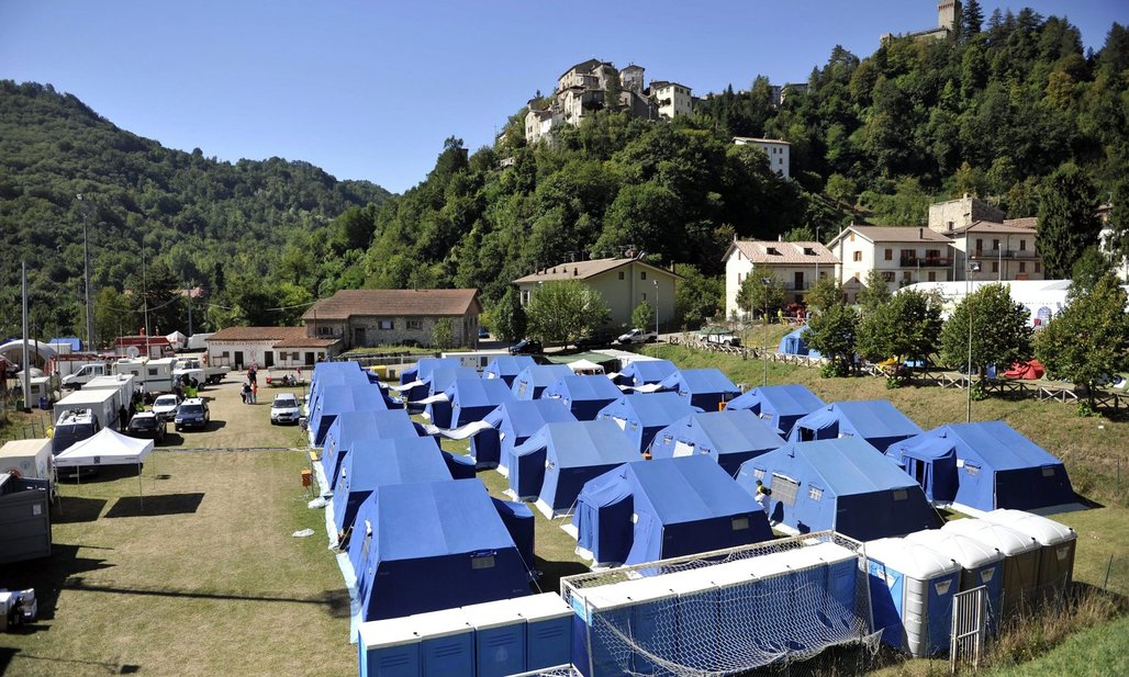 Tent camp in Arquata del Tronto for people displaced by the earthquake. Cristiano Chiodi/EPA, via theguardian.com
