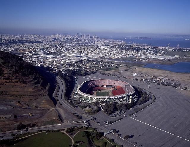 Candlestick Park in San Francisco, one of the sites featured in Around the Bay. Image courtesy of the Library of Congress.
