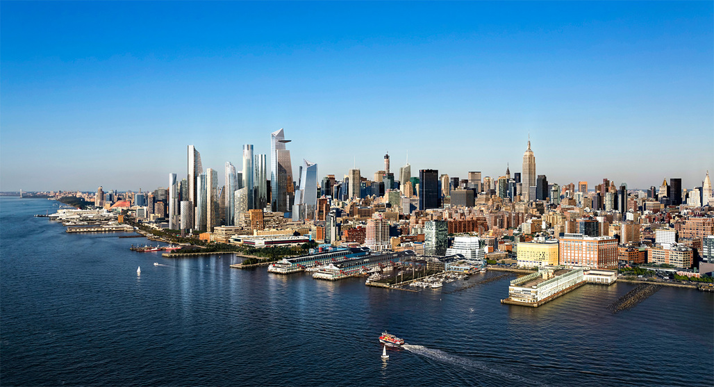 Approaching the Hudson Yards megaproject and its 10.4 million square feet of office space from the Hudson River. (Image: Hudson Yards)
