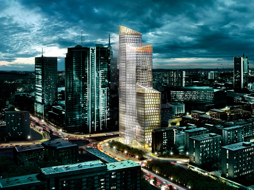 Visualization of SHLs new office tower in Warsaw, Poland (Image: schmidt hammer lassen architects)