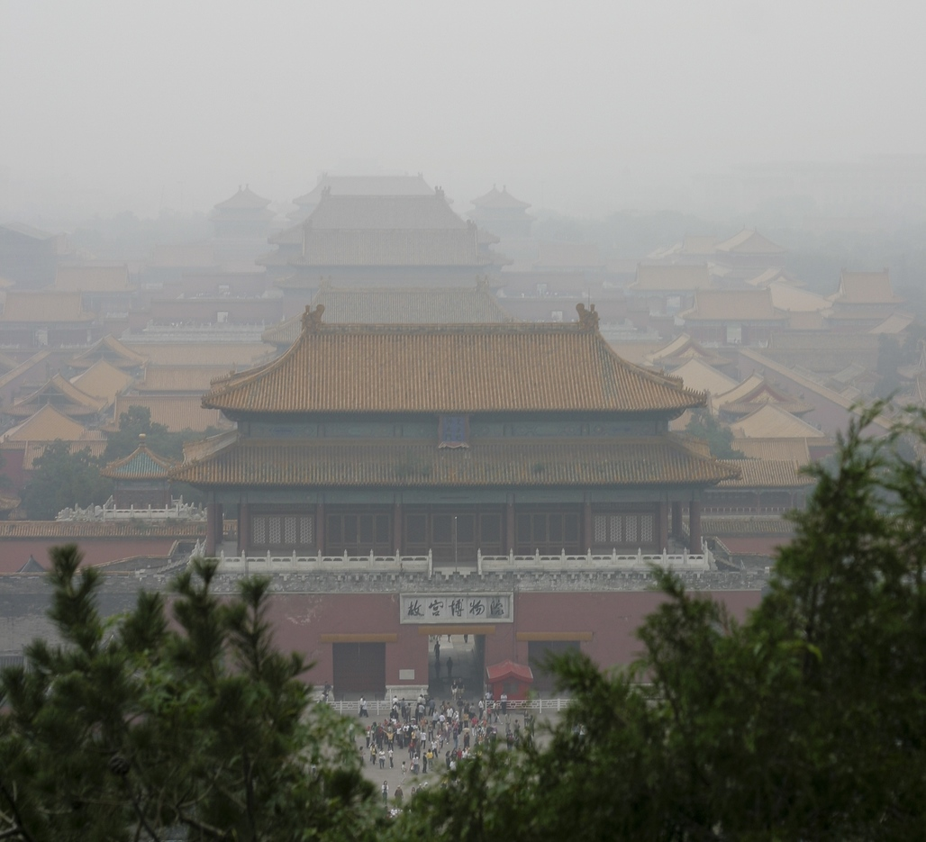 Forbidden City, smogged. Image via Wikipedia.