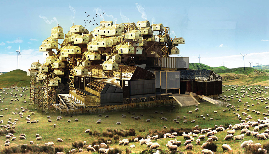 Detail from the competition-winning proposal Woolopolis by Hannes Frykholm and Henry Stephens (Sweden/New Zealand)