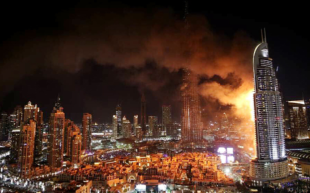 Millions witnessed on TV as The Address Downtown Dubai hotel – just vis-à-vis the Burj Khalifa – was engulfed in a massive blaze on New Years Eve. Non fire-rated exterior panels may have contributed to the fire. The investigation is still ongoing.