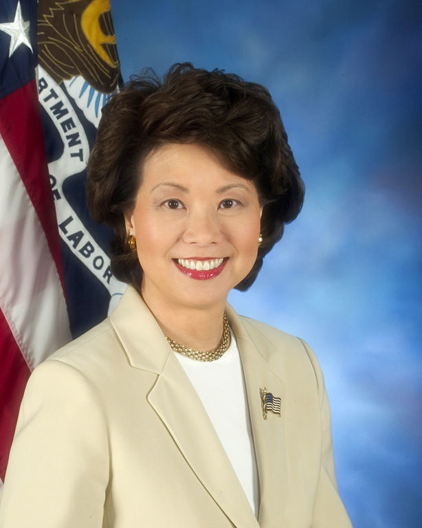 Elaine Chao in a photo as the 24th U.S. Secretary of Labor. Photo via Wikimedia Commons.