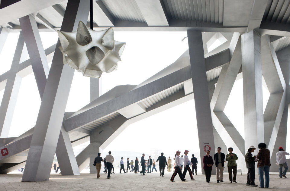 Iwan Baan (Dutch, born 1975). Herzog & de Meuron's National Stadium, Beijing. 2008. Digital C-print, 36 x 54″ (91.4 x 137.2 cm). The Museum of Modern Art, New York. Gift of the artist. Photograph © Iwan Baan
