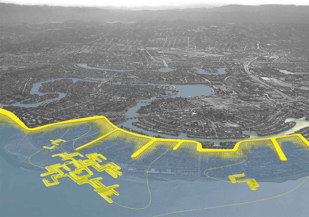 Aerial perspective of a managed retreat project in Foster City, CA. Low lying developments on fill are abandoned for the protection of other development areas and infrastructure. Levies aligned with the street grid extend into the water and provide protection of wetlands from wave action. A flotilla of utility pontoons and waterfront replacement programs is stationed near shore.