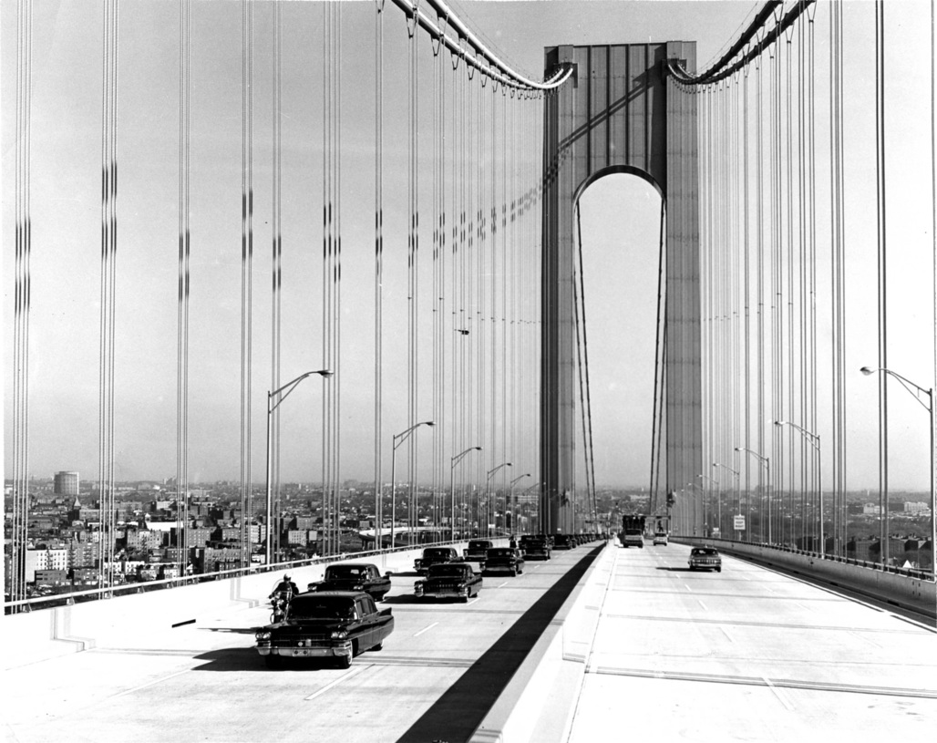 "Verrazano-Narrows Bridge, November 21, 1964. Photo by: Unknown, via <a href=""https://www.flickr.com/photos/mtaphotos/15532403468""target=""_blank"">Flickr</a>."