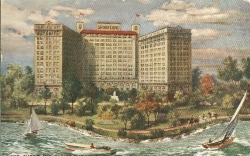 Illustration of Chicagos Shoreland Hotel, via chicagoancestors.org
