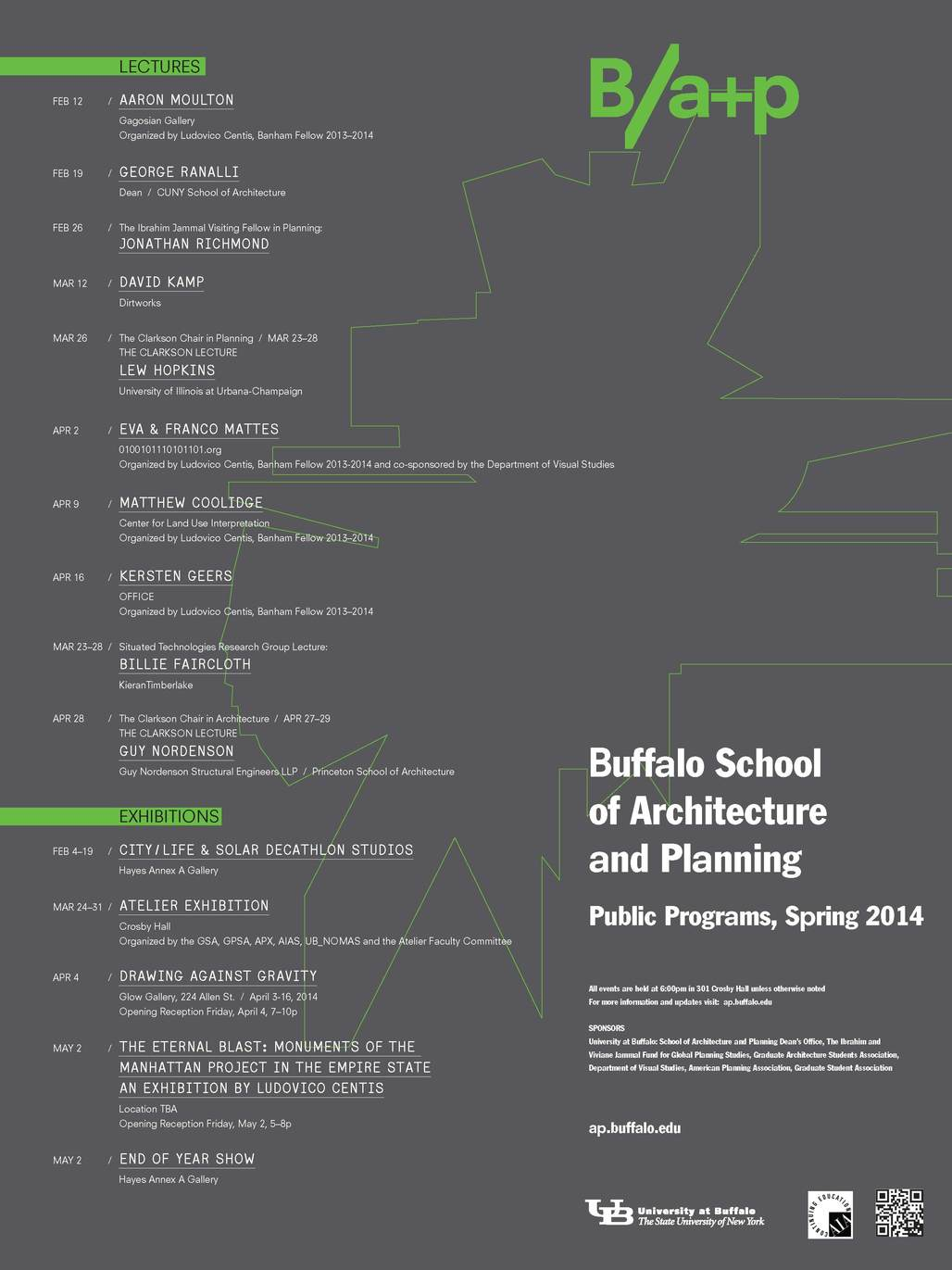 Spring 14 Events at University at Buffalo. Image courtesy of University at Buffalo School of Architecture and Planning.