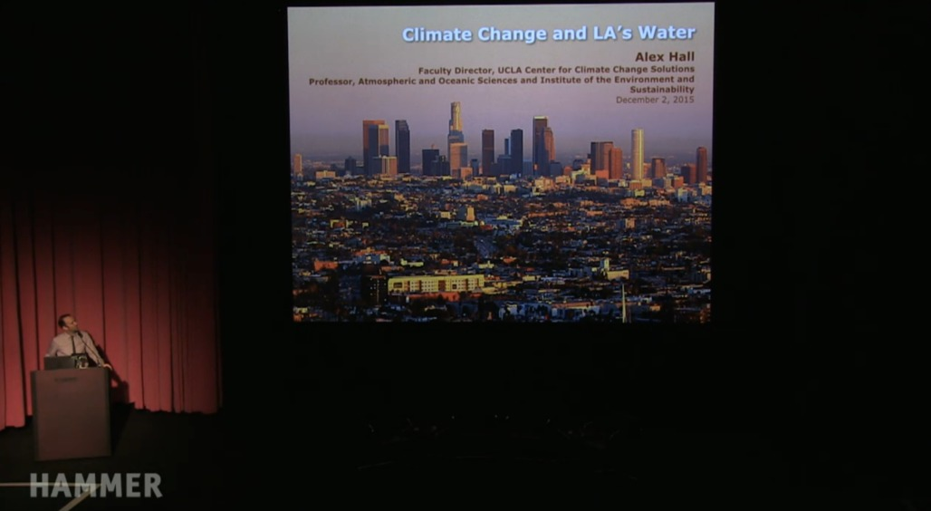 "Alex Hall presenting on the role of climate change in the future of water in Los Angeles during ""Next Wave: Thriving in a Hotter Los Angeles"" at the Hammer Museum. Credit: Next Wave / the Hammer Museum"