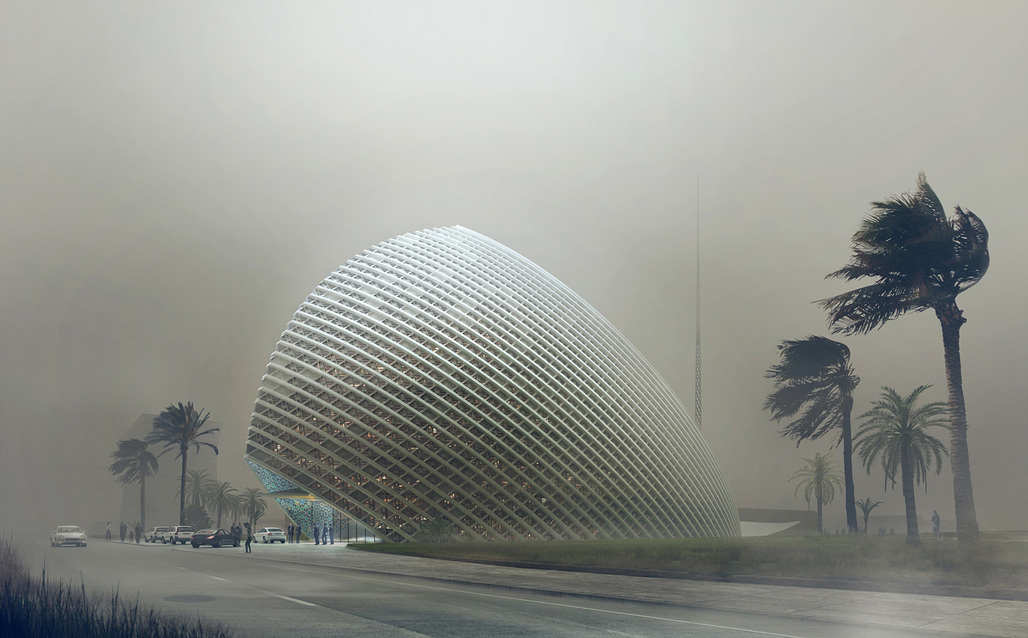 Dust storm rendering of Mario Cucinella Architects new ARPT Headquarters (Image courtesy of Mario Cucinella Architects)