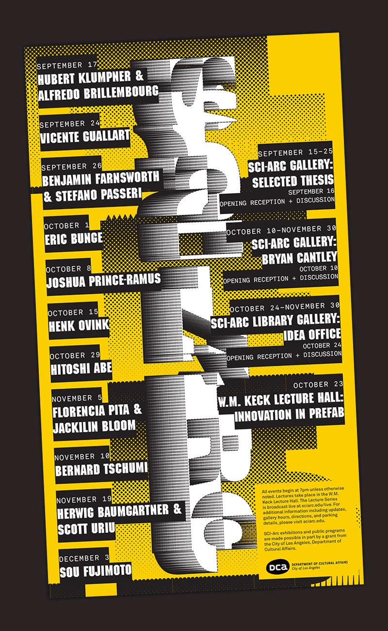 SCI-Arc Fall 2014 public lecture series (postcard). Image courtesy of SCI-Arc.