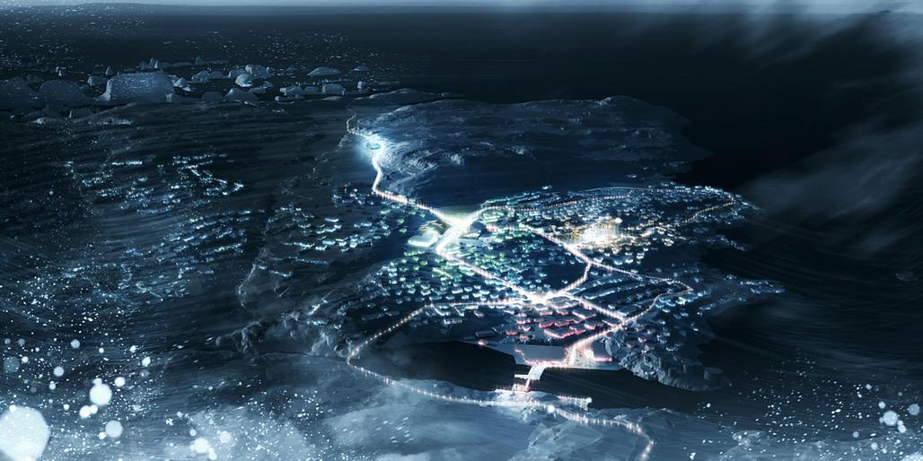 Birds eye view of the concept 'Greenland Migrating' (Image: David Garcia Studio and Henning Larsen Architects)