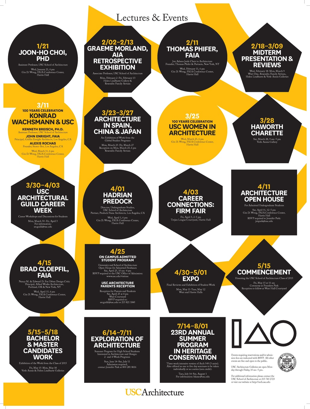 USC School of Architecture - LECTURES & EVENTS Spring 15. Image courtesy of USC School of Architecture.