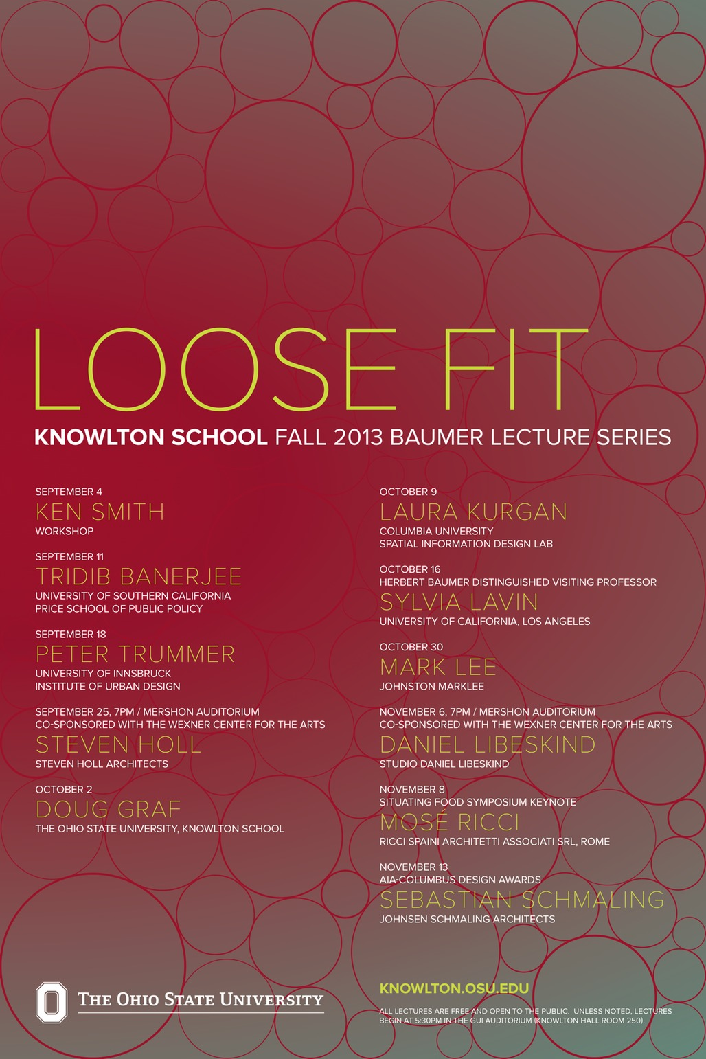 Poster for the Loose Fit lecture series at the Knowlton School of Architecture at Ohio State University. Image from knowlton.osu.edu.