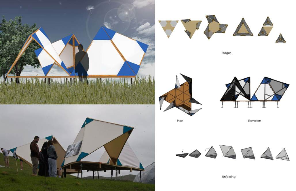 NSAD student team renderings and photos of Design Village competition entry.