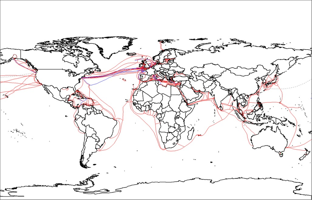A map of the worlds submarine cables as of 2007. Image via wikimedia.org