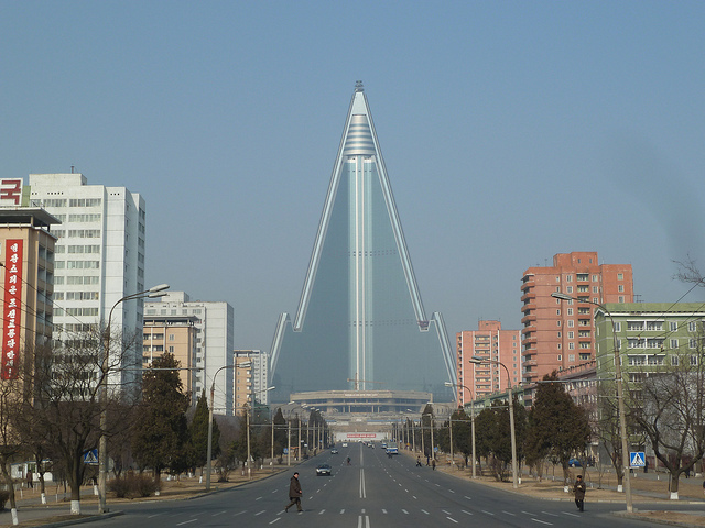 Pyongyang's unfinished Ryugyong Hotel, first built in 1987. Photo: Forgemind ArchiMedia/Flickr.