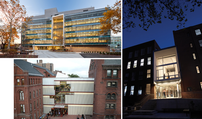 Clockwise from L: Myrtle Hall (opened in 2010) by WASA/Studio A, The Juliana Curran Terian Design Center (opened in 2007) by Thomas Hanrahan and Victoria Meyers of hanrahan Meyers architects, and Higgins Hall Center Section (opened in 2005) by Steven Holl Architects on Pratt's Brooklyn Campus. Photo Credits (Clockwise from Left): Alexander Severin/RAZUMMEDIA, Bob Handelman, Rene Perez.