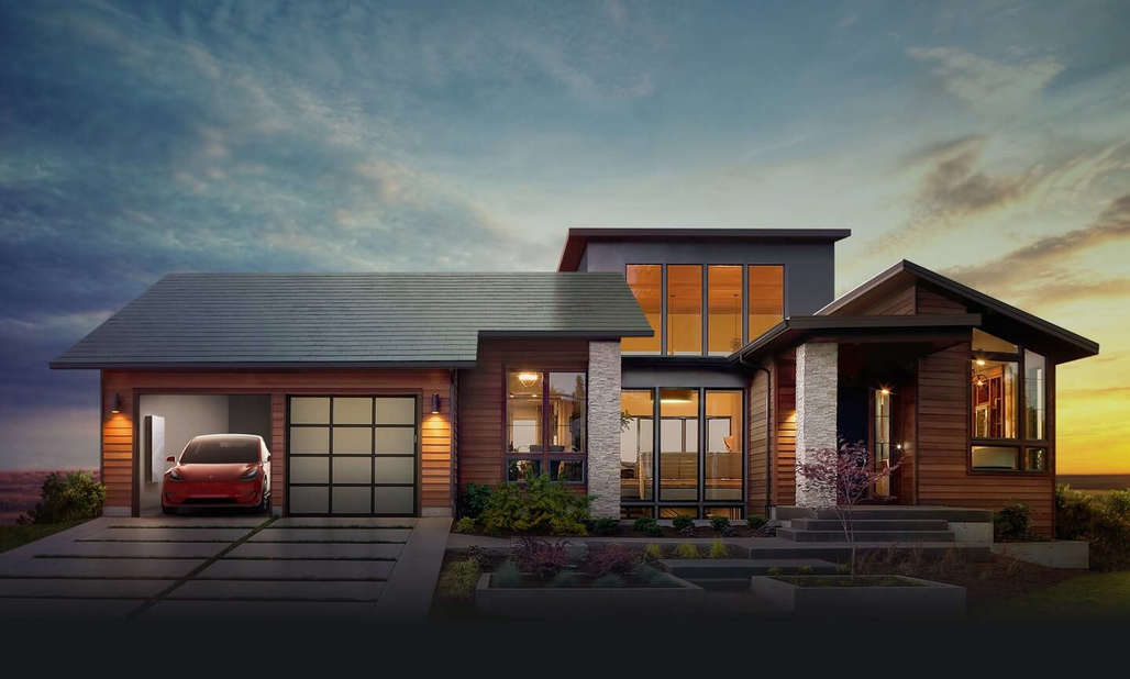 "Teslas new solor roof tiles, shown in ""Smooth Glass"" style here. Credit: Tesla"