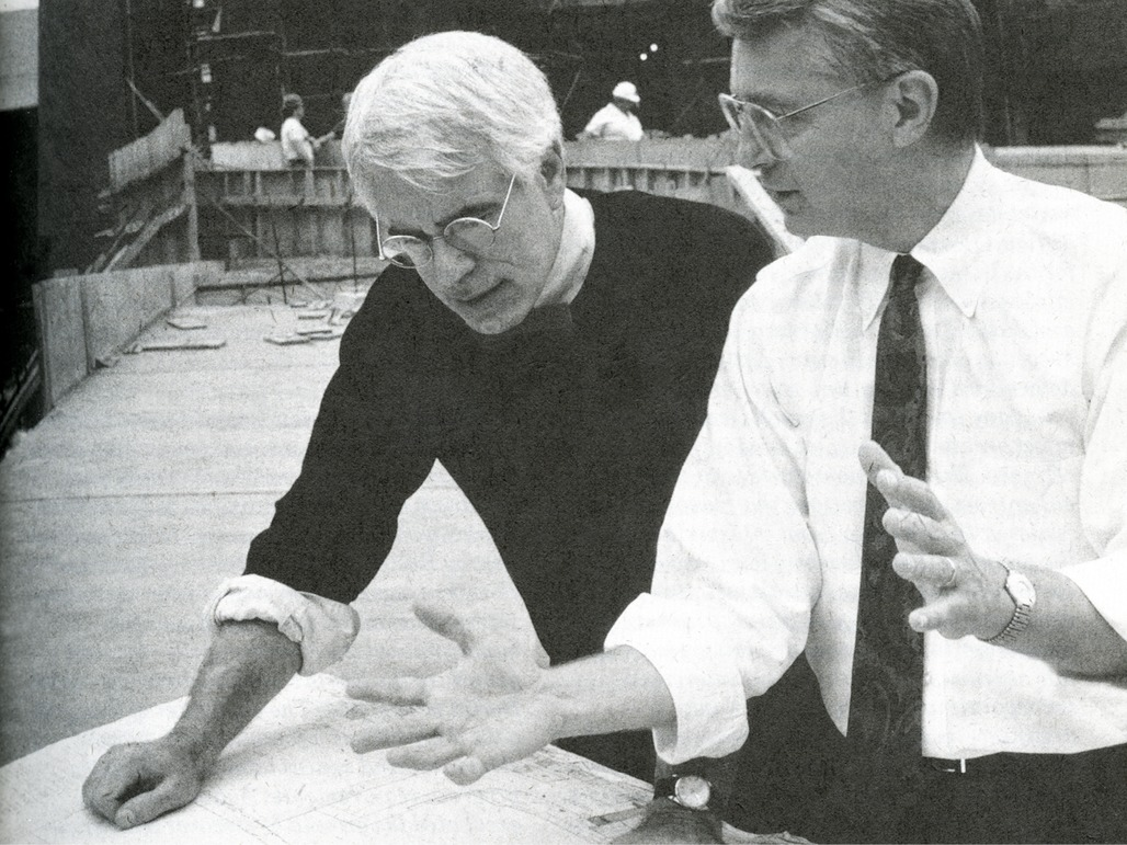 Peter Eisenman and Richard W. Trott on the Wexner Center for the Arts construction site. Photographed by Louie Psihoyos, MATRIX.