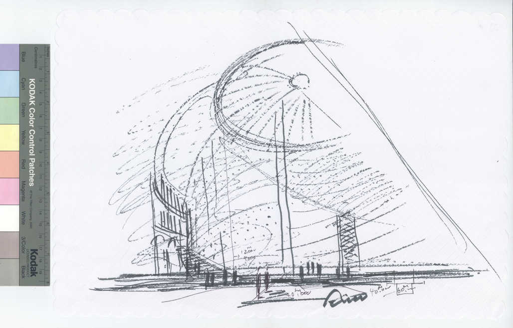 Tadao Andos sketch for the new museum inside the former stock exchange Bourse de Commerce. Image: Tadao Ando Architect & Associates / Collection Pinault