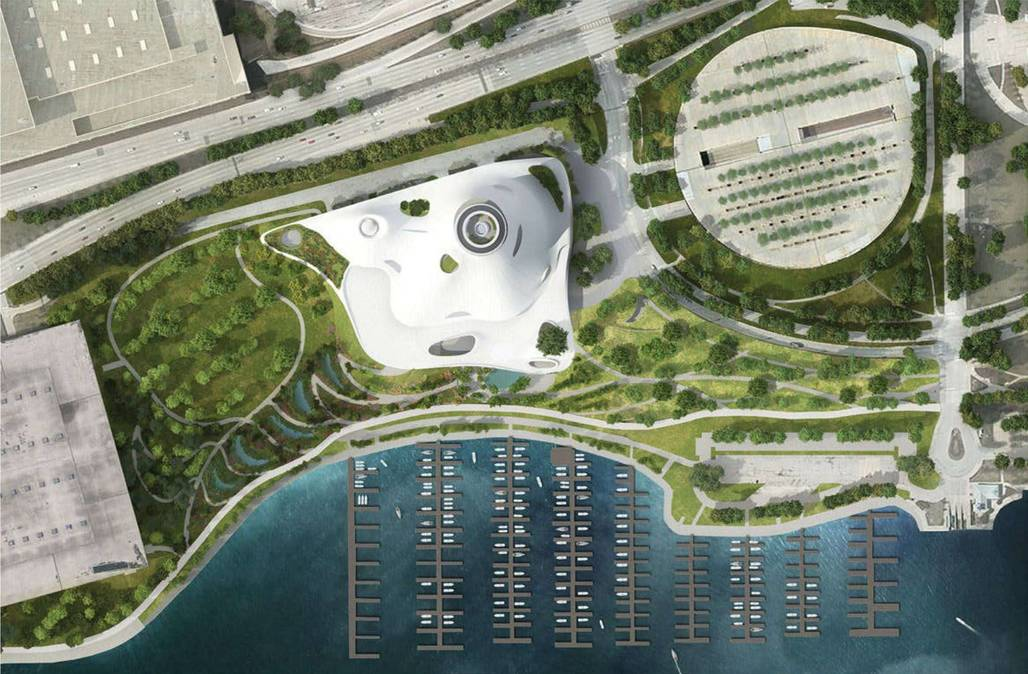 What could have been: the aerial view of the Lucas museums former site in Chicago. Image: MAD Architects