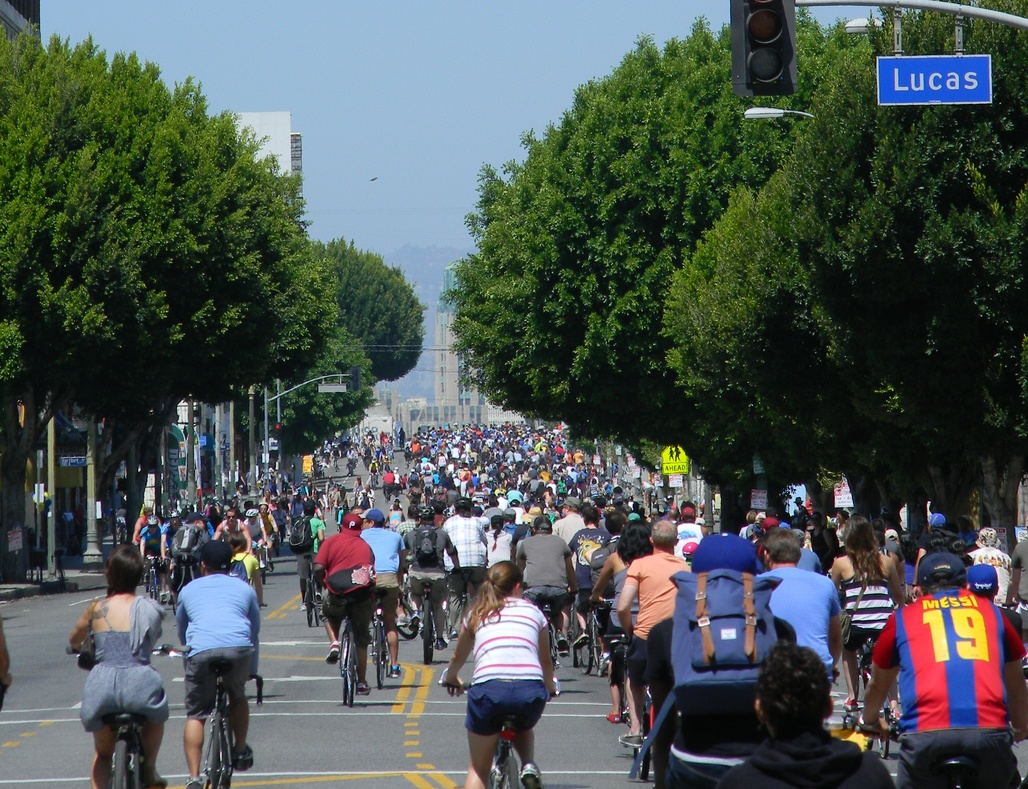 CicLAvia is an event series that blocks off car-access on certain streets in LA so that they can be used by bicyclists and pedestrians instead. Credit: Wikipedia