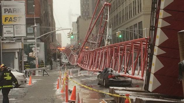 Collapsed crane Friday morning in Manhattan, image via abclocal.go.com.