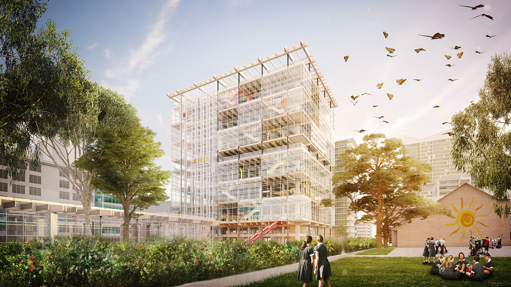 Stacked mezzanines, outdoor learning terraces, and butterflies aplenty: rendering of Grimshaw and BVN's high-rise educational facility in Parramatta, Australia. Image courtesy Grimshaw + BVN.