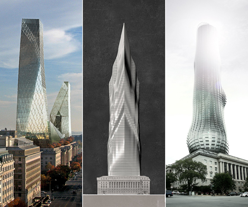 """The three featured skyscraper proposals for """"TALLDC: New Monumentalism"""": The Iceberg, The Tiber, and The EVE."""