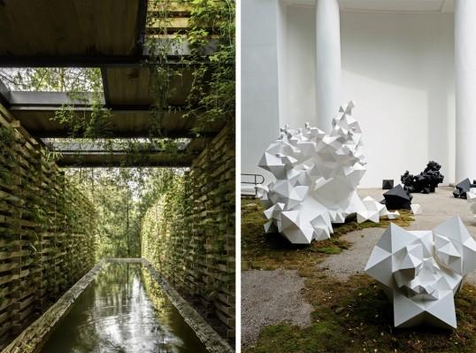 (l) MANUEL CERVANTES CESPEDES / CC ARQUITECTOS, Orchid Pavilion; (r) Aranda\Lasch, Modern Primitives. Image courtesy of the Architectural League of New York.