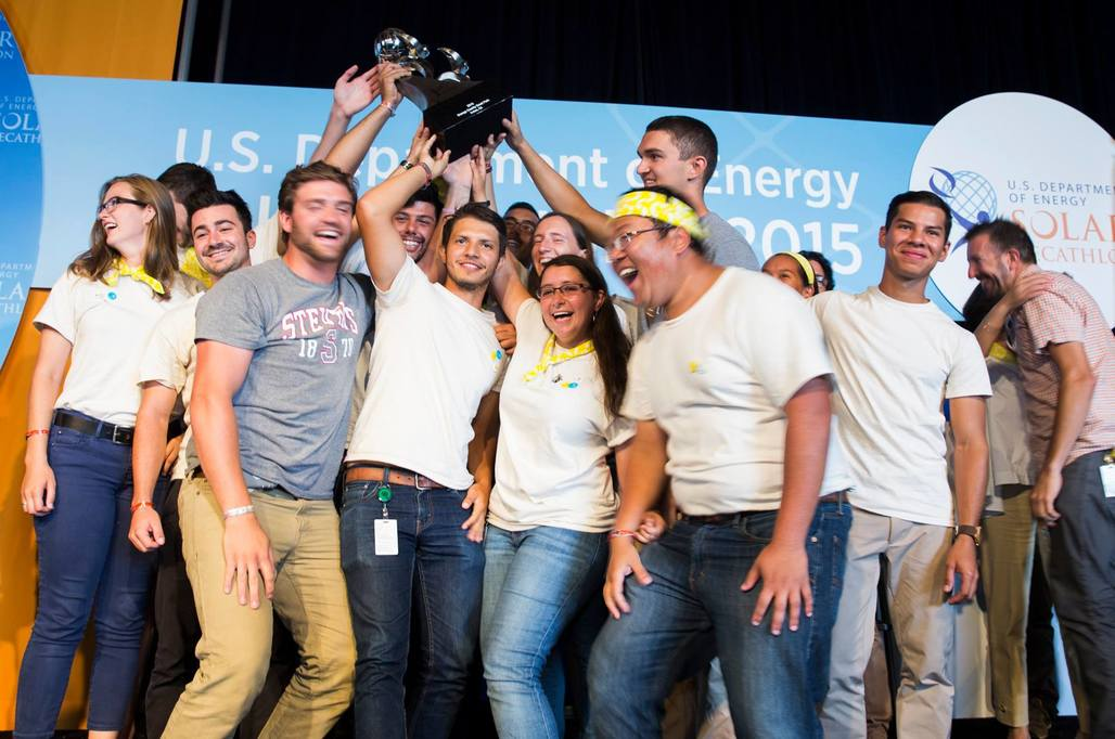 The Stevens Institute of Technology team celebrates their first-place win of the 2015 Solar Decathlon. Photo courtesy of Stevens Institute of Technology.