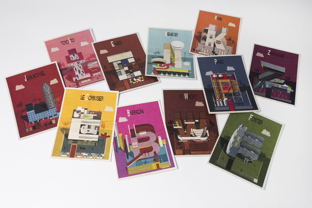"""Make sending postcards cool again with Federico Babina's """"Archibet"""". Image courtesy of Laurence King Publishing."""