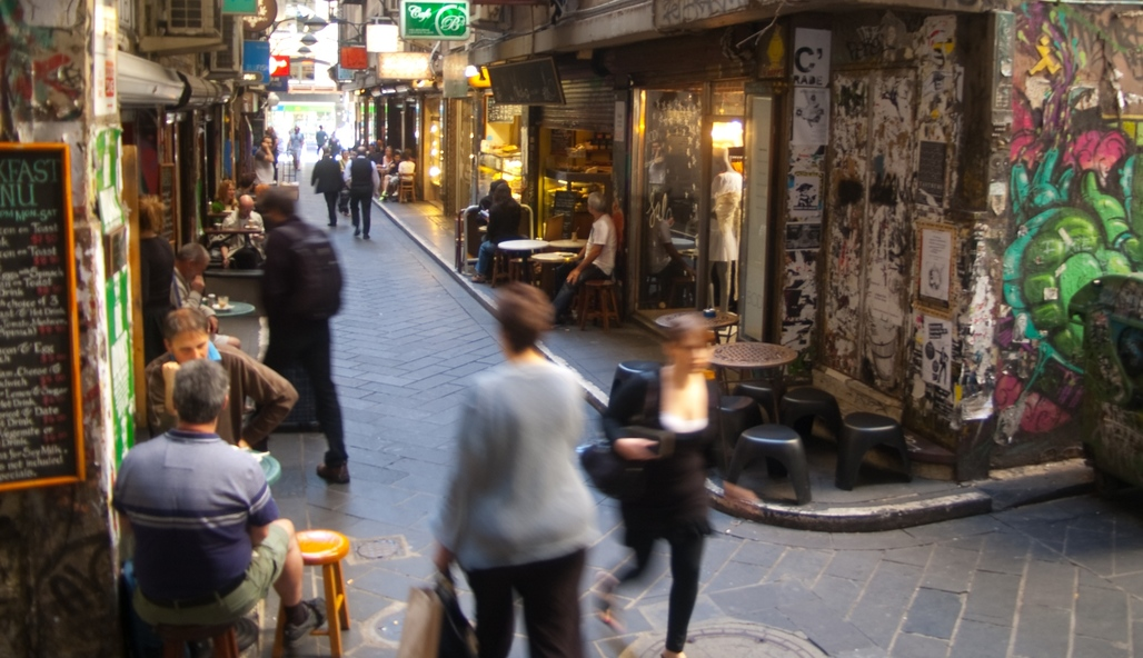 Hidalgos research would eventually be used to gauge safety in places like these: Centre Place in Melbournes inner city, home to an extensive network of lively laneways and arcades. Photo: Wikipedia.