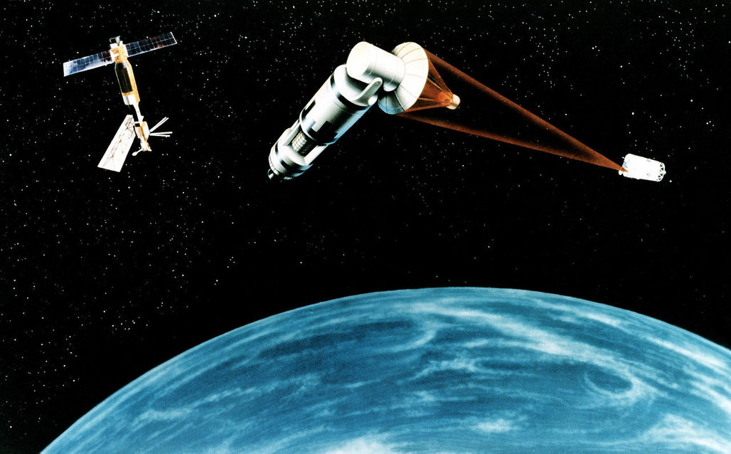 Completely unrelated, this artists rendering of Reagans proposed Strategic Defense Initiative, or Star Wars, is how this writer imagines climate change blasting lasers. Credit: Wikipedia