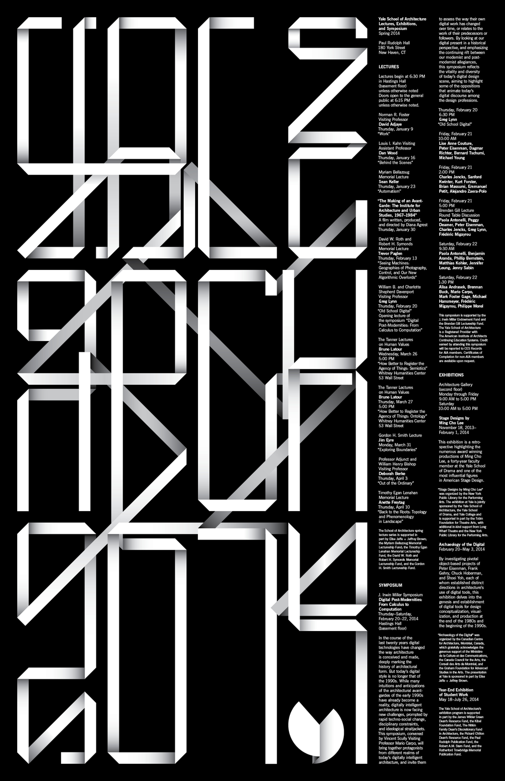 Spring 14 events at Yale School of Architecture. Poster designed by Pentagram: Michael Bierut and Jessica Svendsen.