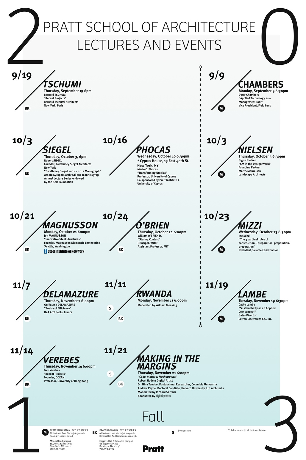 Poster for the Fall 13 lecture events at the Pratt Institute School of Architecture. Image courtesy of Pratt Institute.