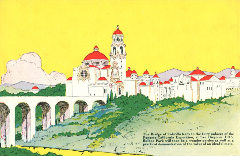 Bridge of Cabrillo leading to the Panama California Exhibition, image via Viewliner Ltd. blog.