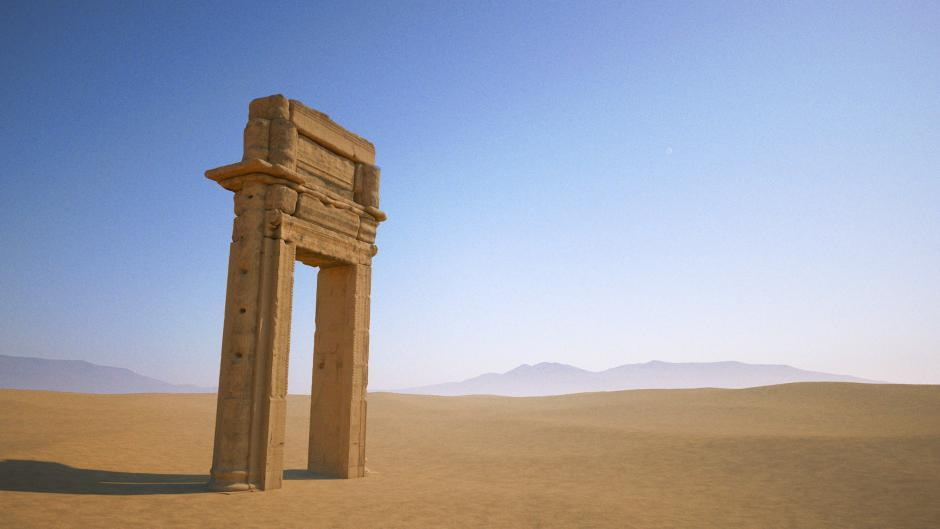 "A 3D model of the grand archway is all thats left of Palmyras ancient Temple of Baal Shamin - destroyed by ISIS militants with ""a large quantity of explosives"" in August 2015. (Image: The Institute of Digital Archaeology, via newsweek.com)"