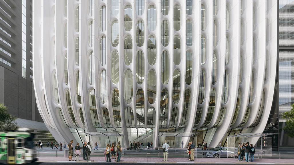 A close-up of the curved sculptural columns on Zaha Hadids 600 Collins Street. Render by VA ©Zaha Hadid Architects'