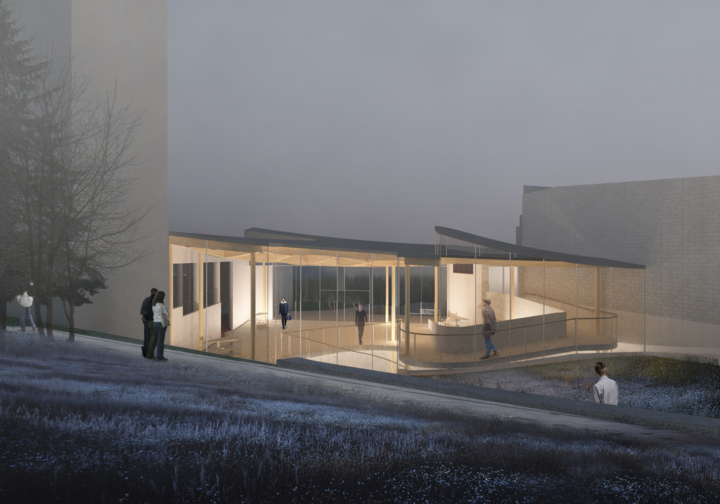 Evening view of Architensions proposed extension for the Alvar Aalto museum. Image courtesy Architensions.