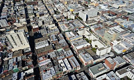 San Franciscos Chinatown - one of the most densely populated parts of the city. Bidding wars and multiple applications are now common in the city for both buys and lets. (The Guardian; Photograph: Michael Layefsky/Flickr Vision)