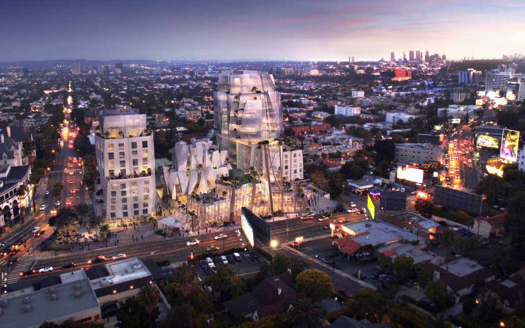 Rendering of Frank Gehrys 8150 Sunset Boulevard courtesy Visualhouse.